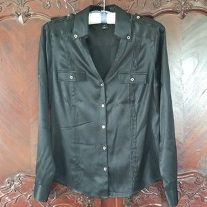 WHBM black silk blouse sz 8 shirt top button down